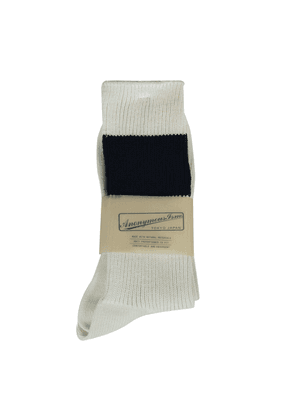 Anonymous-Ism Socks - Off White with Wide Navy Stripe