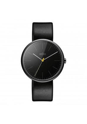 Braun Watch Classic Black Dial, Black Leather Strap & Yellow Second-Hand BN0172