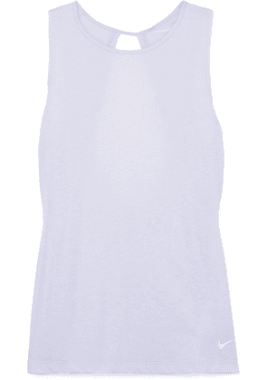 Nike - Studio Open-back Mesh-paneled Stretch-jersey Tank - Purple