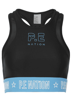 P.E NATION - Figure Four Mesh-trimmed Stretch Sports Bra - Black