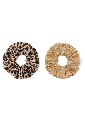 Loeffler Randall - Hailey Set Of Two Leopard-print Satin And Lamé Hair Ties - Leopard print