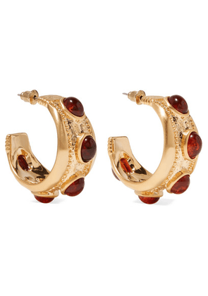 Kenneth Jay Lane - Gold-plated And Tortoiseshell Resin Hoop Earrings - one size