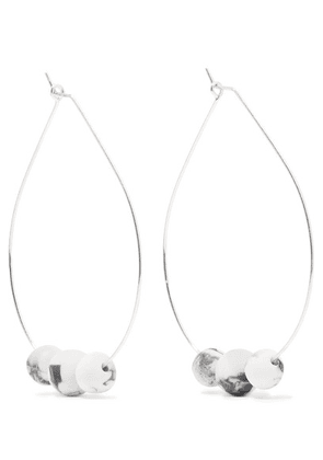Dinosaur Designs - Silver And Resin Hoop Earrings - White