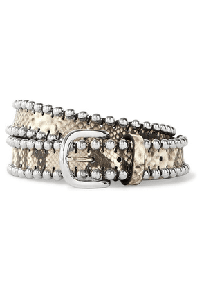 Isabel Marant - Tokky Embellished Snake-effect Leather Belt - Snake print