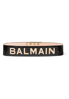 Balmain - Embellished Glossed-leather Belt - Black