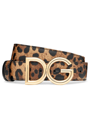 Dolce & Gabbana - Reversible Leopard-print Textured-leather Belt - Leopard print