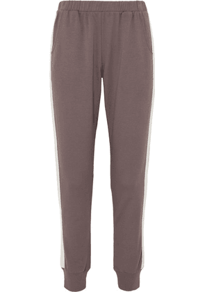 Eberjey - Colby Striped Stretch Pima Cotton And Modal-blend Track Pants - Dark gray