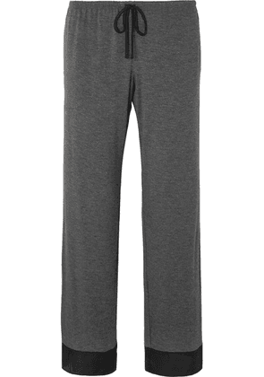 DKNY - Satin-trimmed Stretch-jersey Pajama Pants - Charcoal