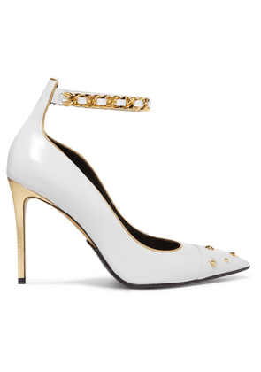 Balmain - Embellished Metallic-trimmed Leather Pumps - Off-white