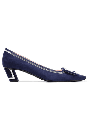 Roger Vivier - Belle Vivier Graphic Metallic Leather-trimmed Suede Pumps - Navy
