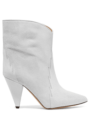 Isabel Marant - Leider Suede And Lizard-effect Leather Ankle Boots - Off-white