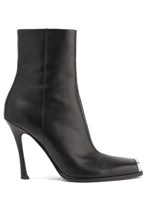 CALVIN KLEIN 205W39NYC - Wilamiona Metal-trimmed Leather Ankle Boots - Black
