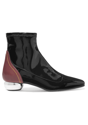 Ellery - Smooth And Patent-leather Ankle Boots - Black