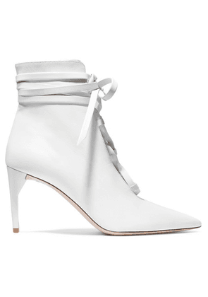 Miu Miu - Lace-up Leather Ankle Boots - White