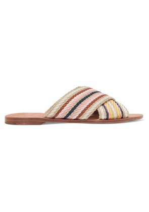 Diane von Furstenberg - Cindi Metallic Striped Canvas Slides - Gold