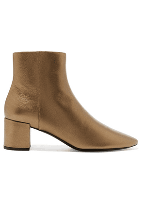 SAINT LAURENT - Loulou Metallic Textured-leather Ankle Boots - Gold