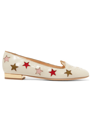 Charlotte Olympia - Kitty Cutout Embroidered Leather Slippers - White