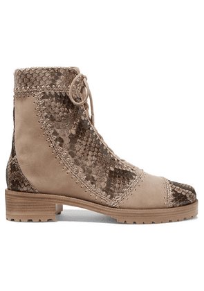 Alexandre Birman - Whipstitched Lace-up Python And Suede Ankle Boots - Snake print