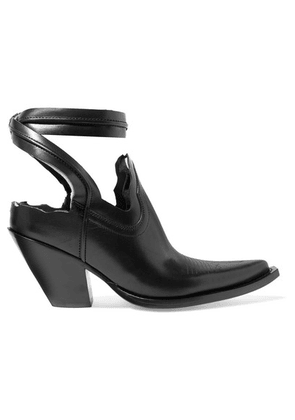 Maison Margiela - Distressed Cutout Leather Ankle Boots - Black