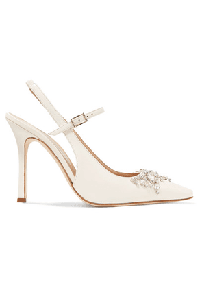 Alessandra Rich - Crystal-embellished Leather Slingback Pumps - Ivory
