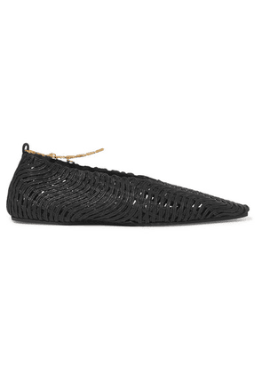 Stella McCartney - Embellished Woven Cotton Point-toe Flats - Black