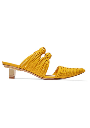 Cult Gaia - Paige Knotted Leather Mules - Yellow