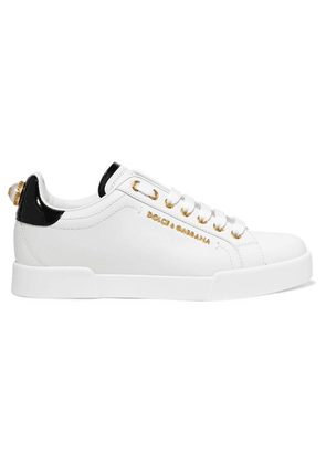 Dolce & Gabbana - Embellished Leather Sneakers - White