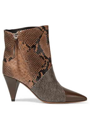 Isabel Marant - Latts Paneled Snake-effect Leather Ankle Boots - Snake print