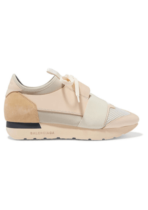 Balenciaga - Race Runner Leather, Suede, Mesh And Neoprene Sneakers - Beige