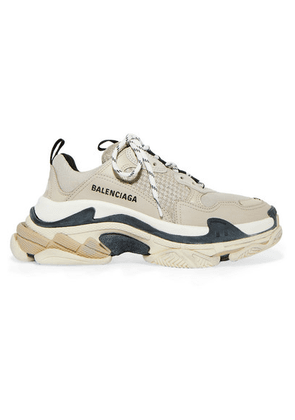 Balenciaga - Triple S Logo-embroidered Leather, Nubuck And Mesh Sneakers - Beige
