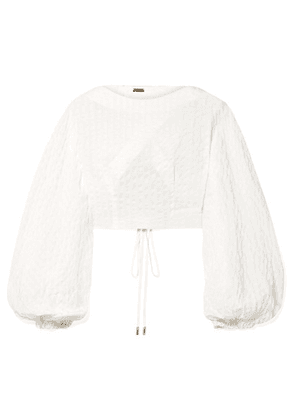 Cult Gaia - Sophia Cropped Seersucker Top - White