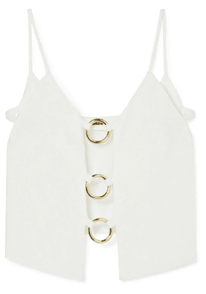 Cult Gaia - Odette Cutout Embellished Linen Top - White
