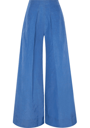Cult Gaia - Jordana Pleated Taffeta Wide-leg Pants - Azure