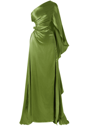 Cult Gaia - Cosette One-shoulder Cutout Silk-satin Gown - Leaf green