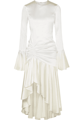 Caroline Constas - Monique Ruched Stretch-silk Satin Gown - White