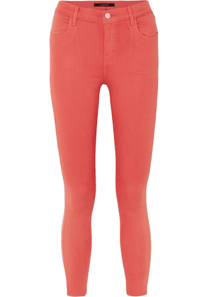J Brand - Alana Coated Mid-rise Skinny Jeans - Red