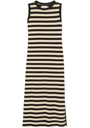 Current/Elliott - The Perfect Muscle Tee Striped Cotton-jersey Dress - Black