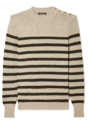 Balmain - Button-embellished Metallic Striped Knitted Sweater - Beige