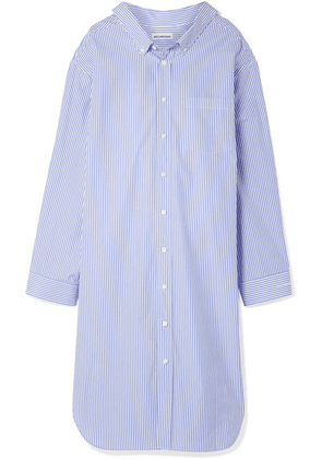 Balenciaga - Oversized Striped Cotton-poplin Dress - Blue