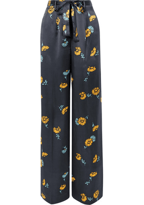 Equipment - Evonne Belted Floral-print Silk-satin Wide-leg Pants - Navy