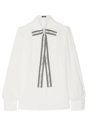 Dolce & Gabbana - Printed Pussy-bow Silk Crepe De Chine Blouse - White