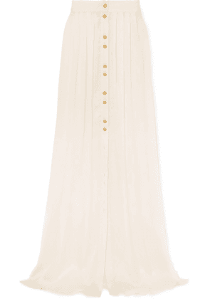 Balmain - Button-embellished Pleated Crinkled Silk-satin Maxi Skirt - White