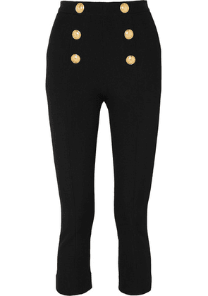 Balmain - Cropped Button-embellished Textured-knit Bootcut Pants - Black
