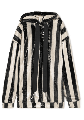 Marques' Almeida - Oversized Striped Sequined Tulle Hoodie - Black