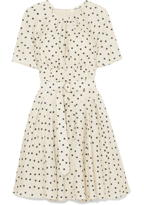 Diane von Furstenberg - Belted Polka-dot Silk Dress - Cream