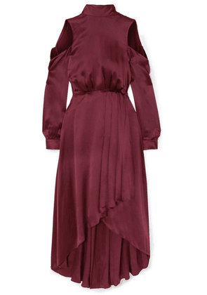 Diane von Furstenberg - Cold-shoulder Asymmetric Silk Midi Dress - Burgundy