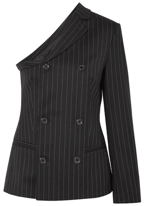 Moschino - One-shoulder Pinstriped Wool-blend Top - Black
