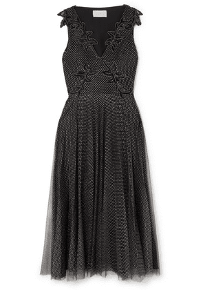 Christopher Kane - Embellished Metallic Point D'esprit Tulle Midi Dress - Black