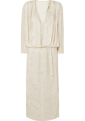 Attico - Bead-embellished Silk-georgette Maxi Dress - White