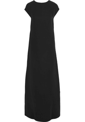 Valentino - Open-back Draped Silk-cady Gown - Black